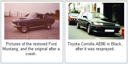imageLink to the photo gallery showing a ford mustang and black corolla